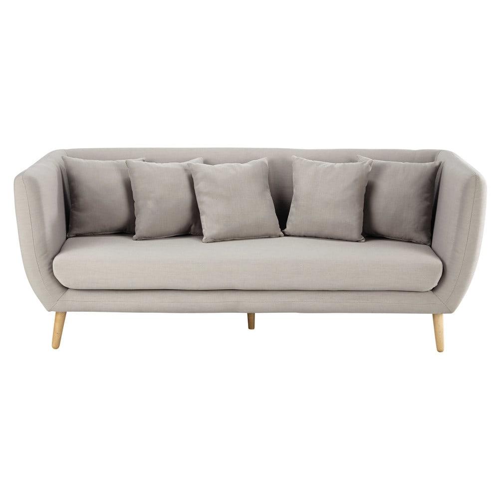 Sof de 3 plazas de tela gris claro clara maisons du monde - Maison du monde sofa ...