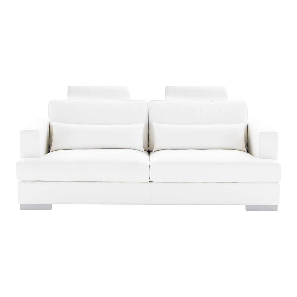 Sof de 3 plazas fijo de cuero blanco orlando orlando - Sofa cuero blanco ...