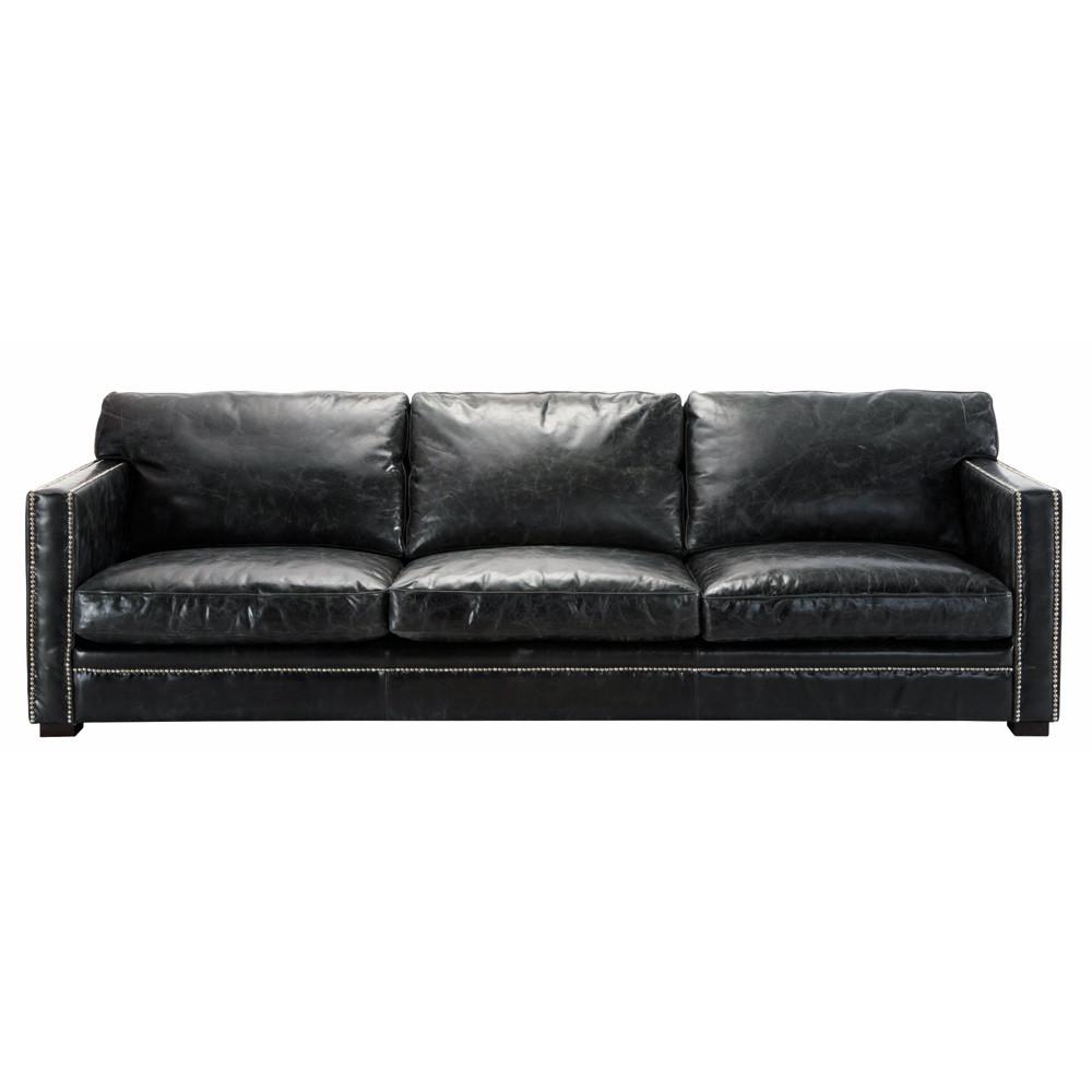 Sof de 4 5 plazas de cuero negro dandy maisons du monde - Sofa cuero negro ...