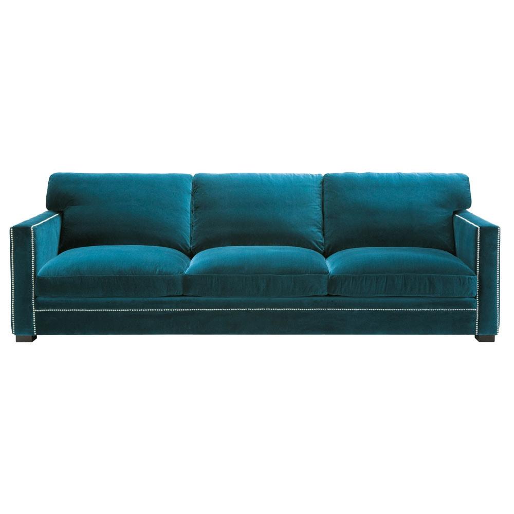 Sof de 4 5 plazas de pana azul dandy maisons du monde - Sofa terciopelo azul ...