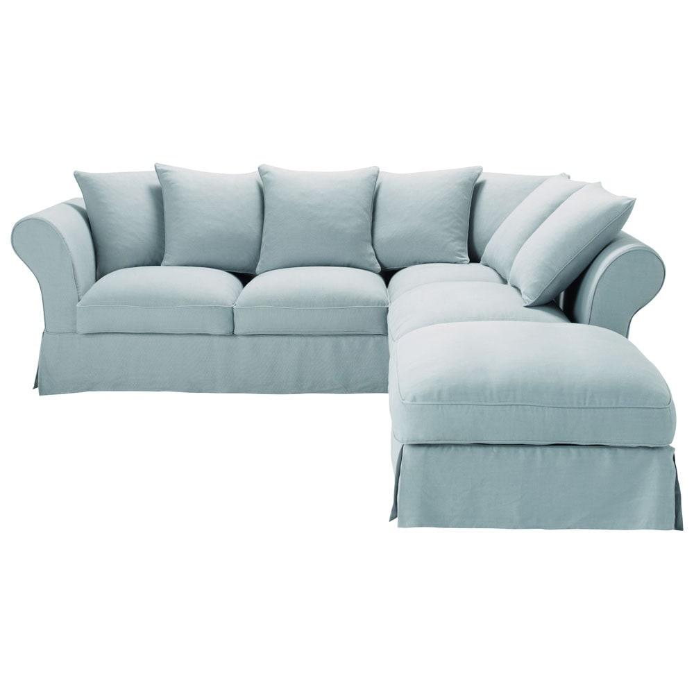 sof de esquina fijo 6 plazas lino azul agrisado roma roma maisons du monde. Black Bedroom Furniture Sets. Home Design Ideas