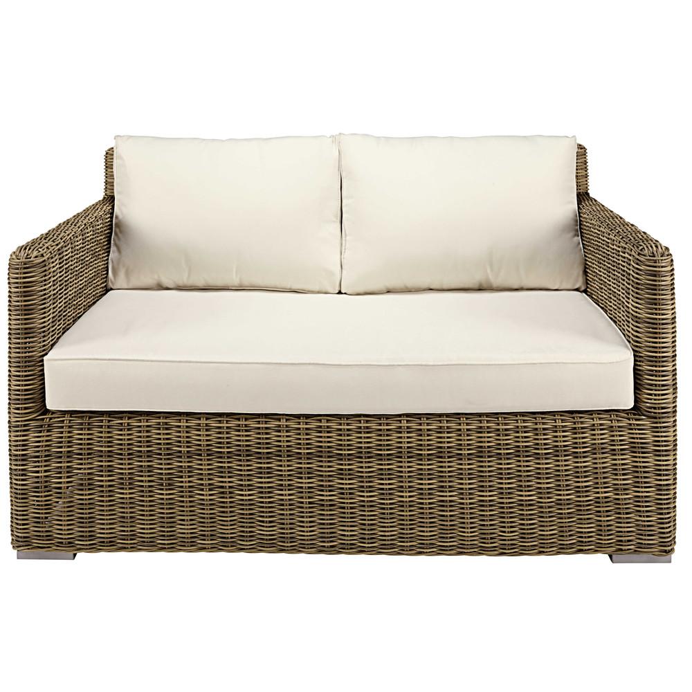 Sof de jard n de 2 plazas de resina trenzada y cojines - Cojines para sofas de jardin ...