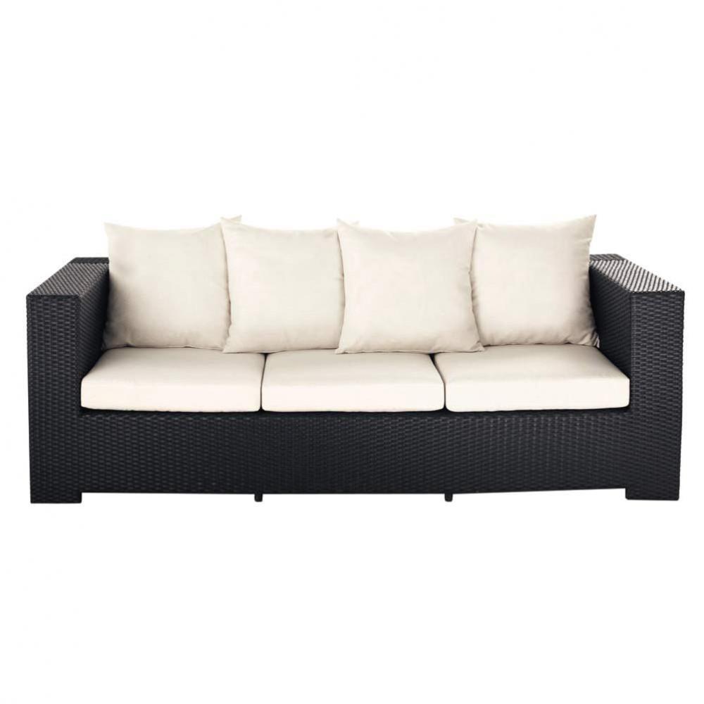 sof de jard n de 3 plazas de resina trenzada negra miami