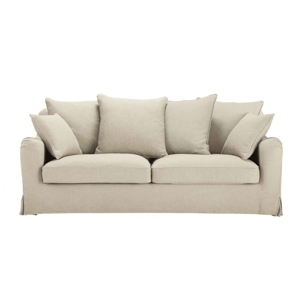 sofa dreisitzer nicht ausziehbar leinfarben bovary bovary maisons du monde. Black Bedroom Furniture Sets. Home Design Ideas