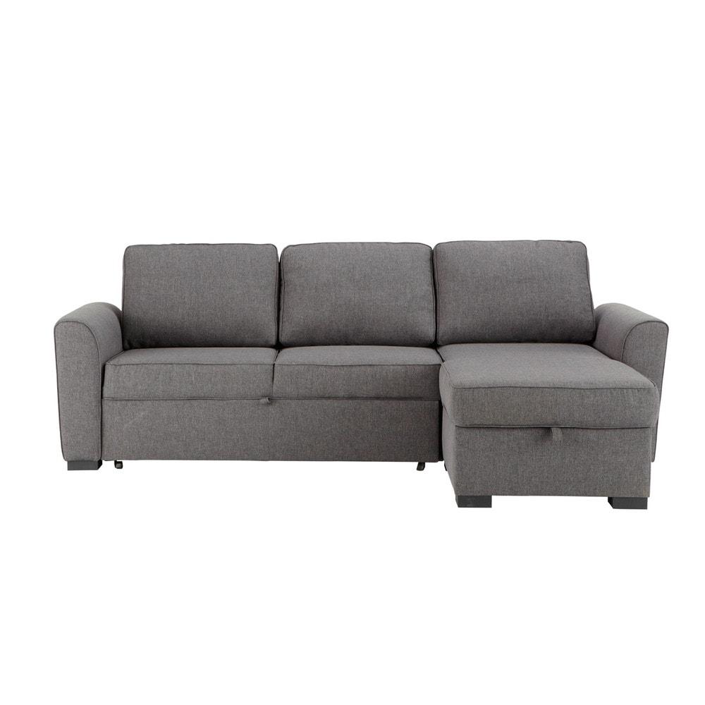 Sof esquinero convertible de 3 4 plazas de tela gris - Telas para sofa ...