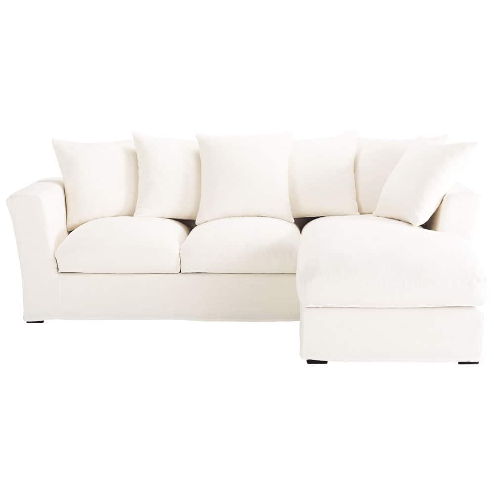 Sof esquinero convertible de 5 plazas de lino blanco - Sofa esquinero cama ...