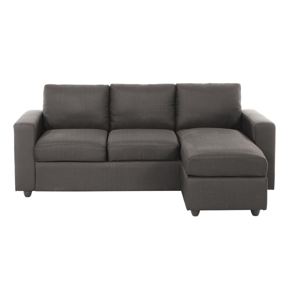 Sof esquinero de 3 plazas de tela gris jules maisons du for Sofa esquinero precio