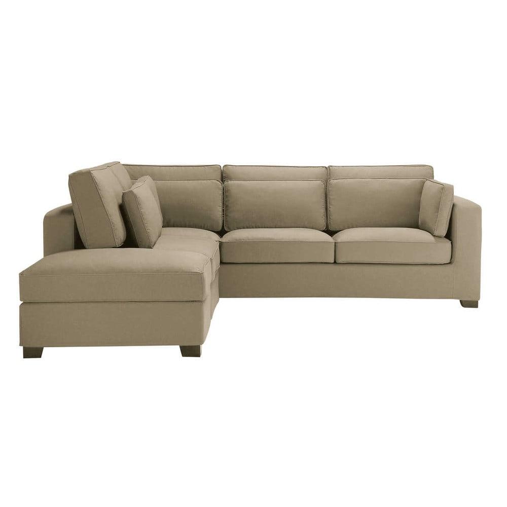 Sof esquinero de 5 plazas de algod n topo milano for Sofa cama esquinero