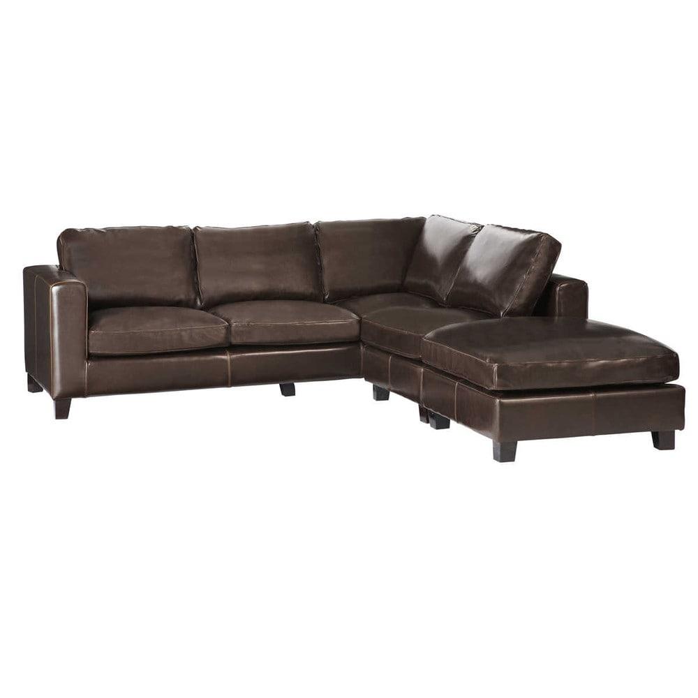Sof esquinero de 5 plazas de serraje de cuero chocolate - Sofa esquinero cama ...