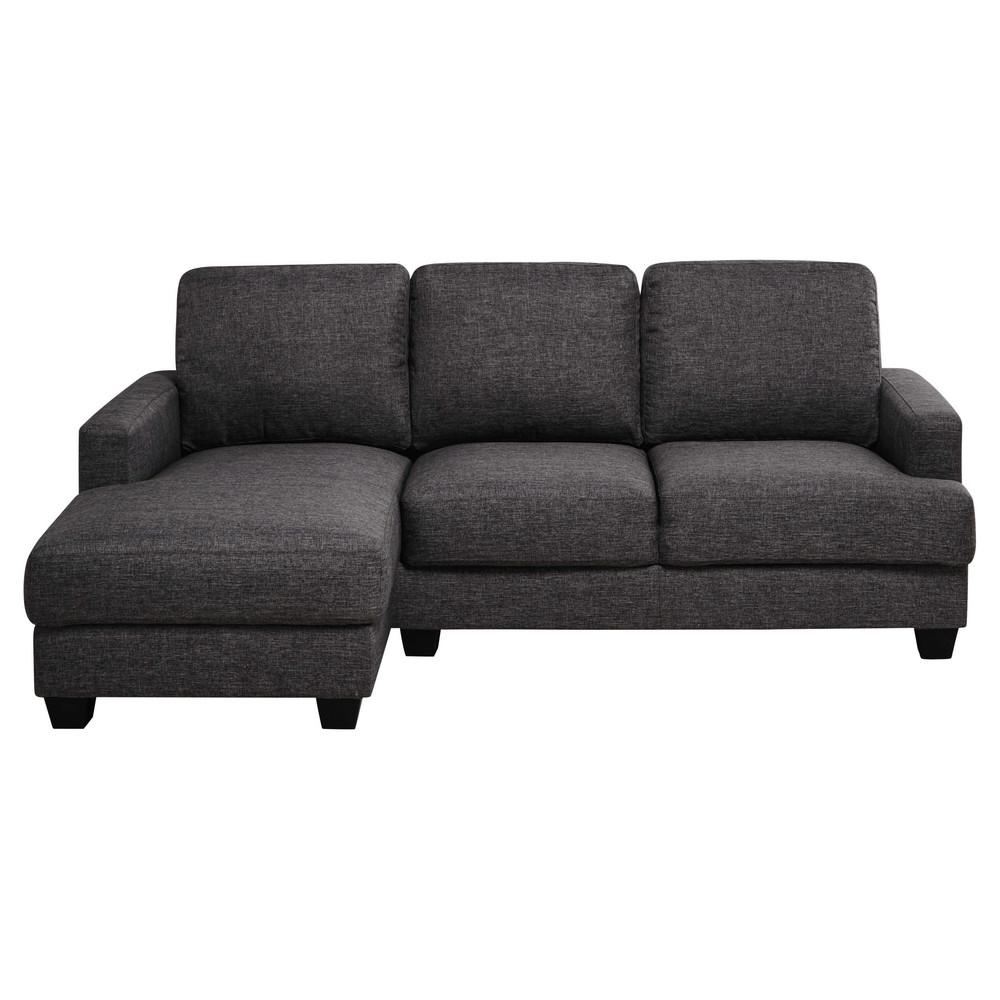 Sof esquinero izquierdo 3 4 plazas de tela gris mezclilla for Muebles izquierdo