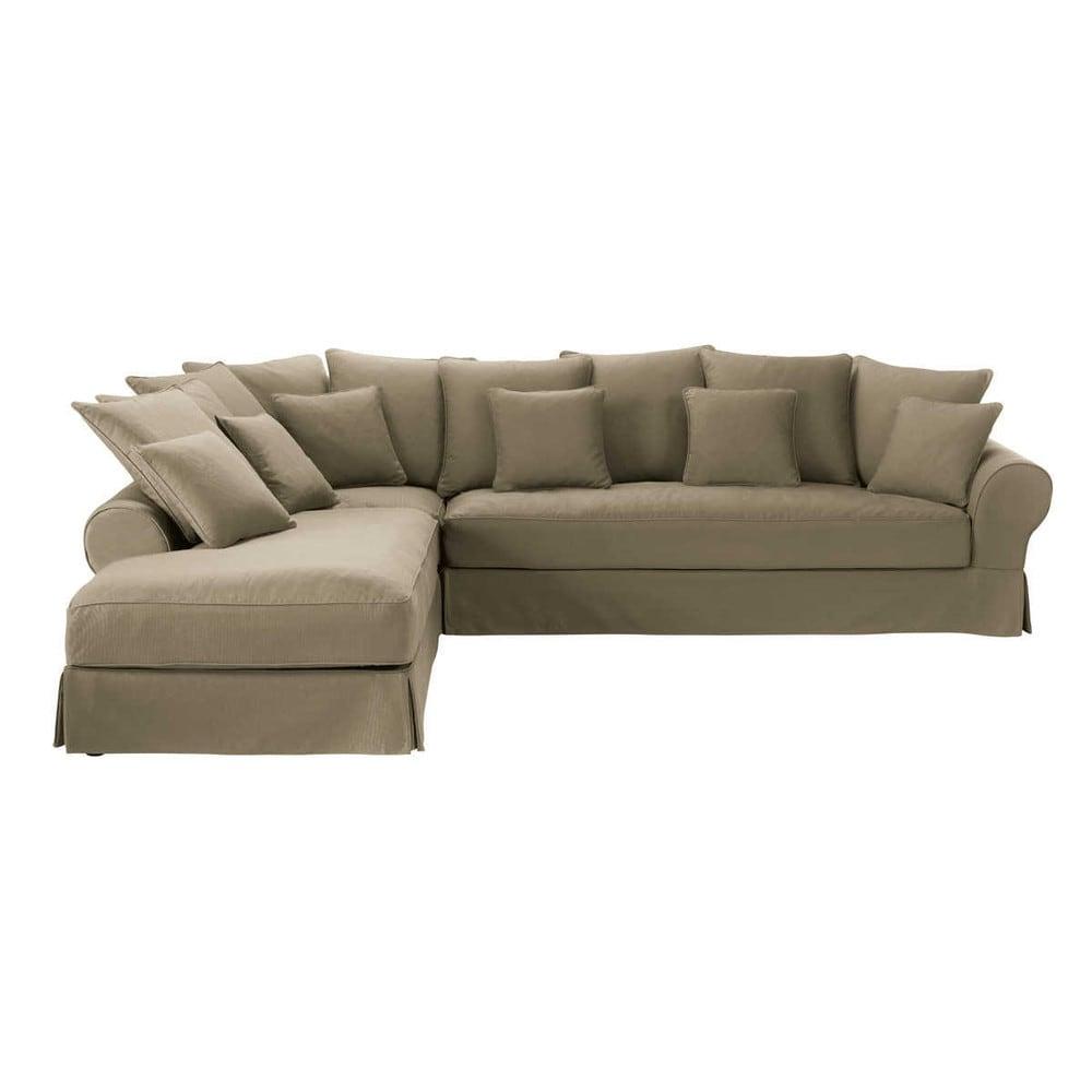 Sof esquinero izquierdo de 6 plazas de algod n gris topo - Fundas sofa esquinero ...