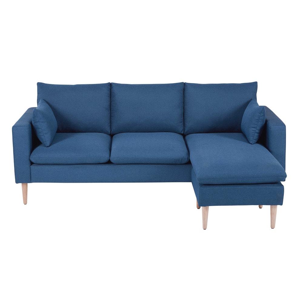 Sof esquinero modulable de 3 4 plazas de tela azul joey - Sofa esquinero cama ...