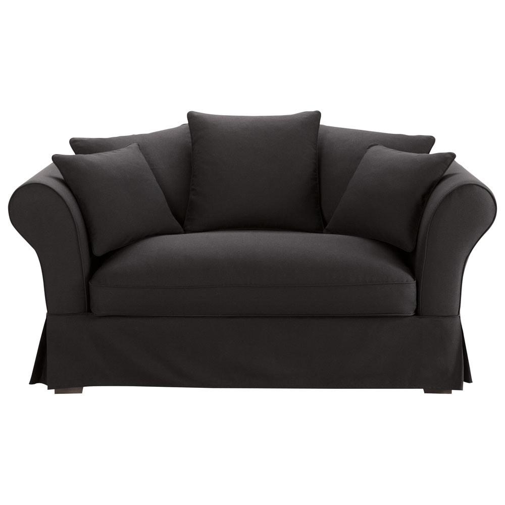 Sofa in black cotton seats 2 3 roma roma maisons du monde - Sofa roma ...