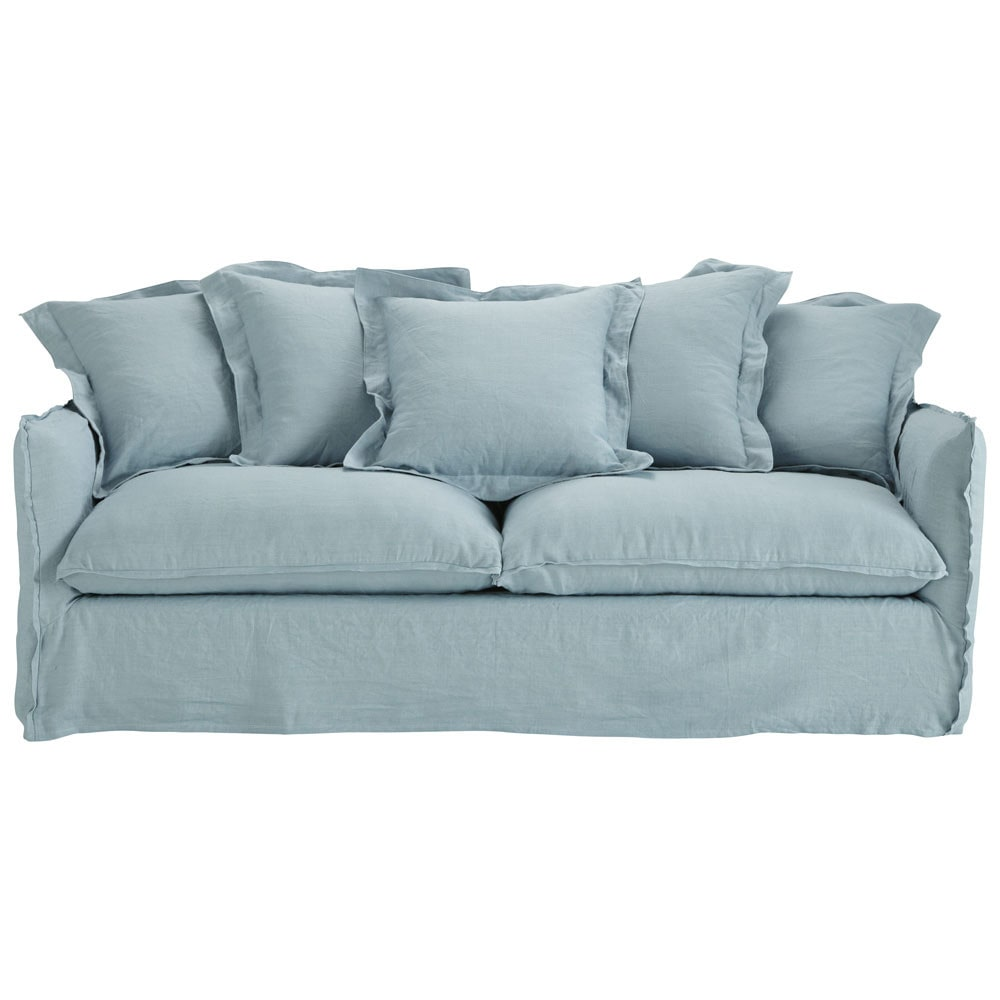 Sofa In Blue Grey Washed Linen Seats 3 4 Barcelone