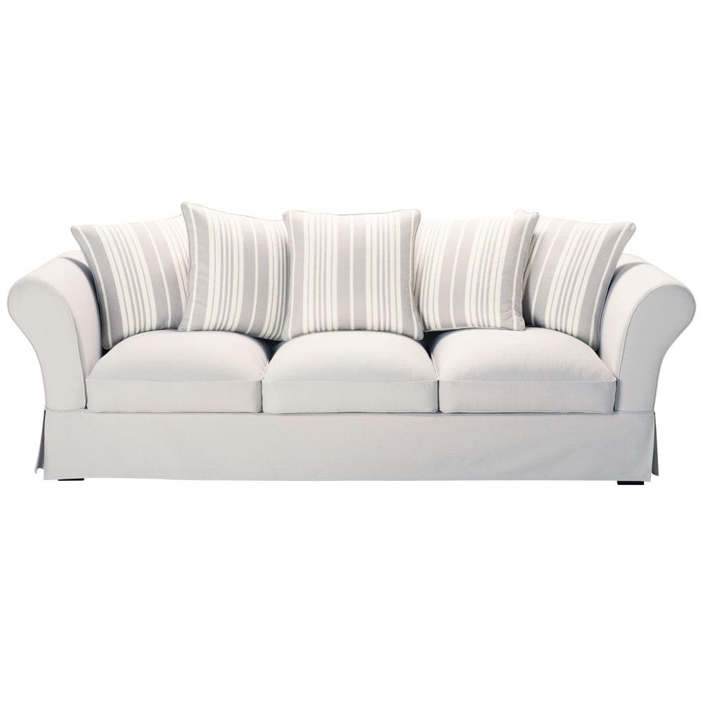 Sofa in pearl grey cotton with ivory stripes seats 4 5 roma roma maisons du monde - Sofa roma ...