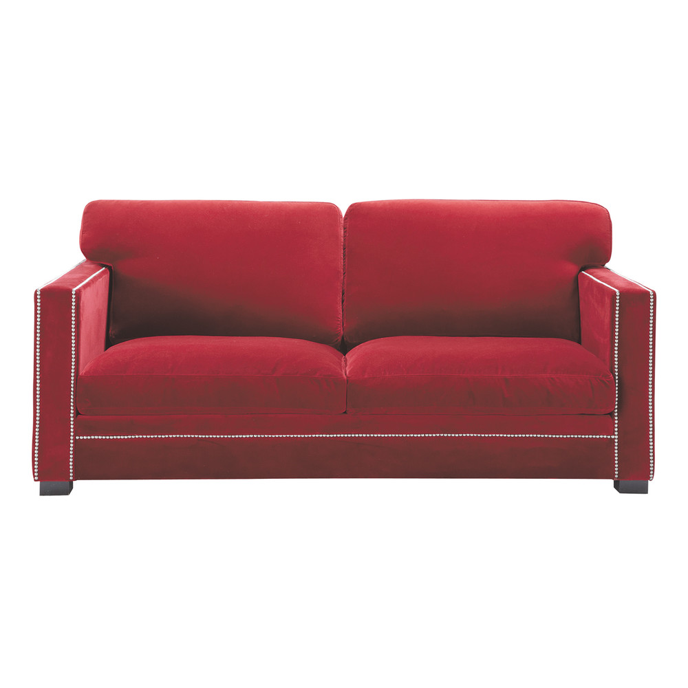 Sofa in red velvet seats 3 4 dandy dandy maisons du monde for Red velvet sectional sofa