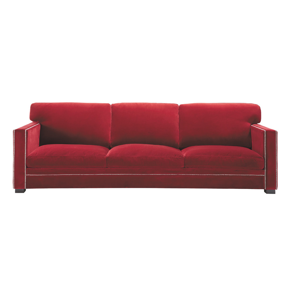 Sofa In Red Velvet Seats 4 5 Dandy Dandy Maisons Du Monde