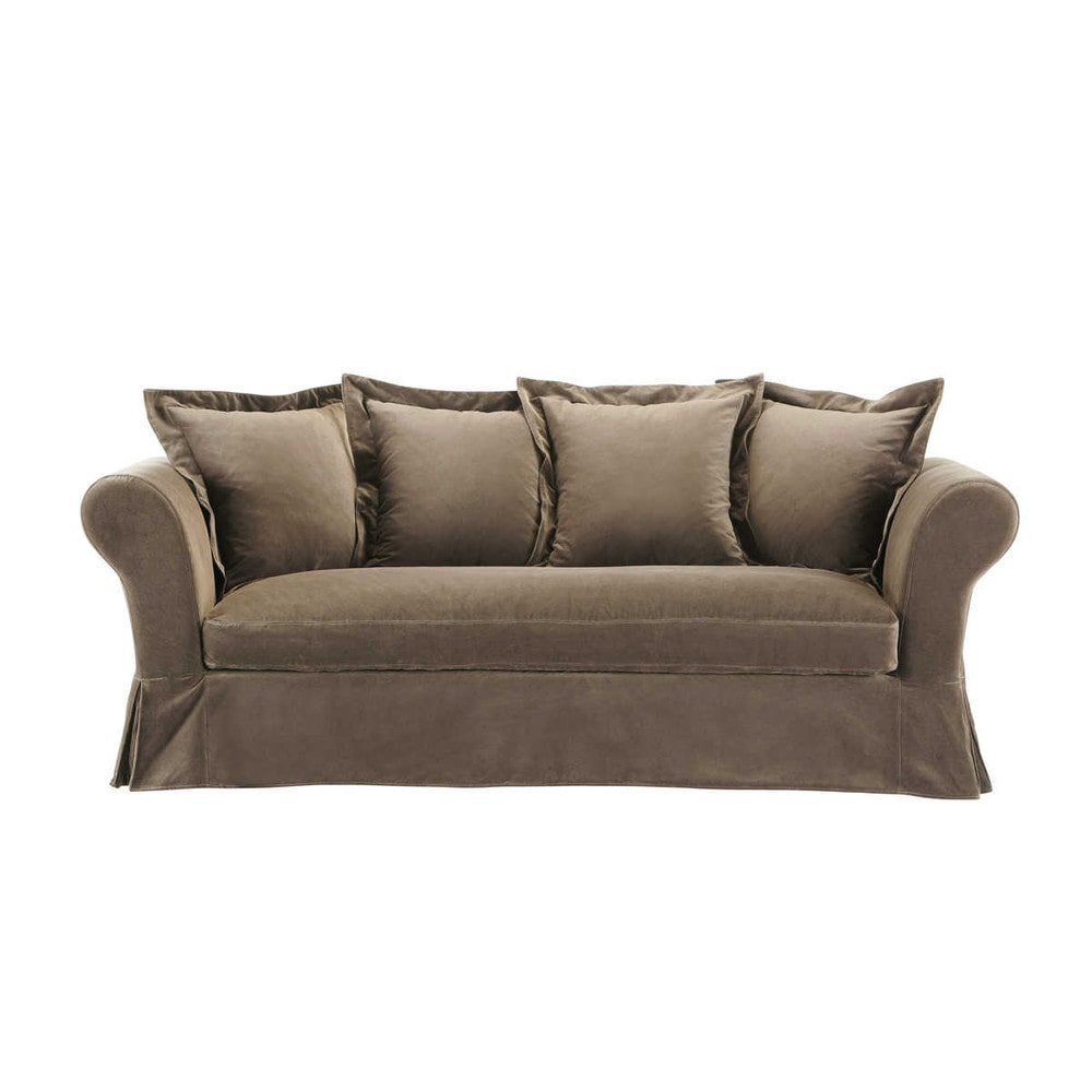 Taupe Velvet Sofa: Sofa In Taupe Velvet, Seats 3/4 - Velvet Velvet