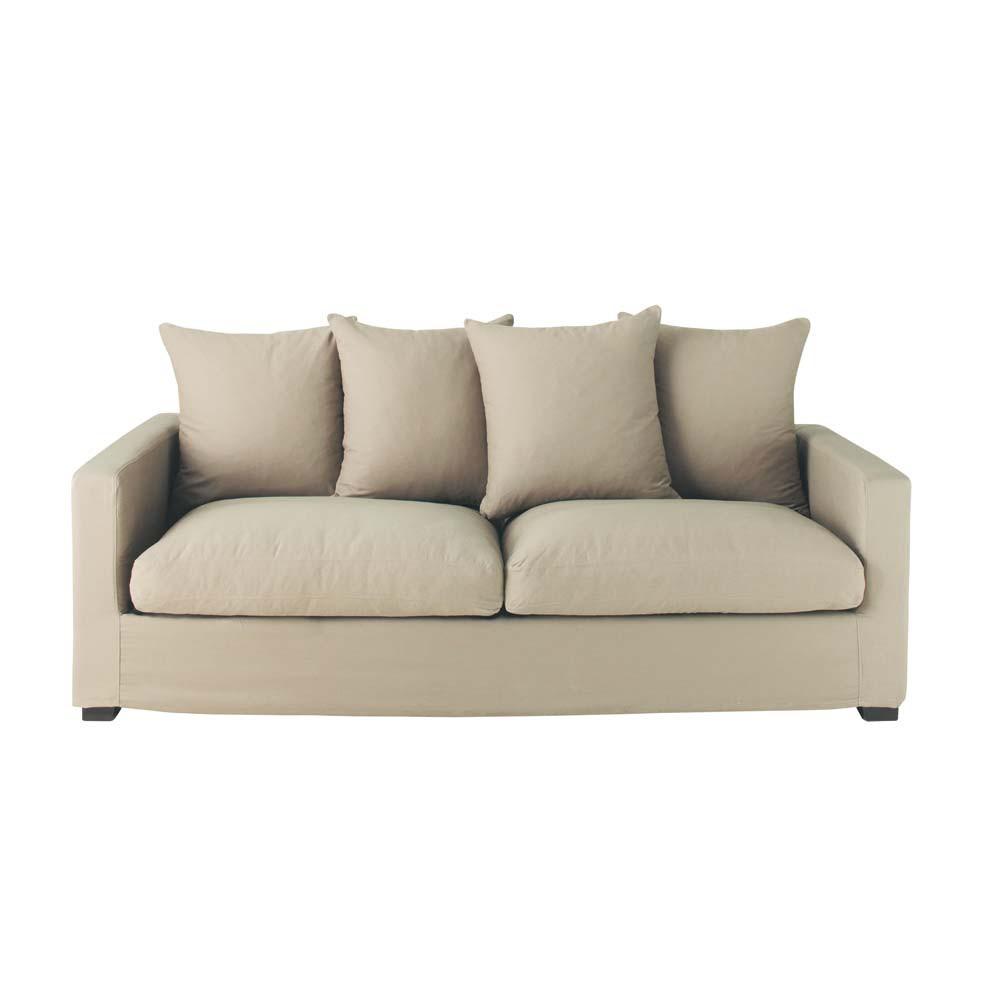 sofa leinen 3 sitzer leonard leonard maisons du monde. Black Bedroom Furniture Sets. Home Design Ideas