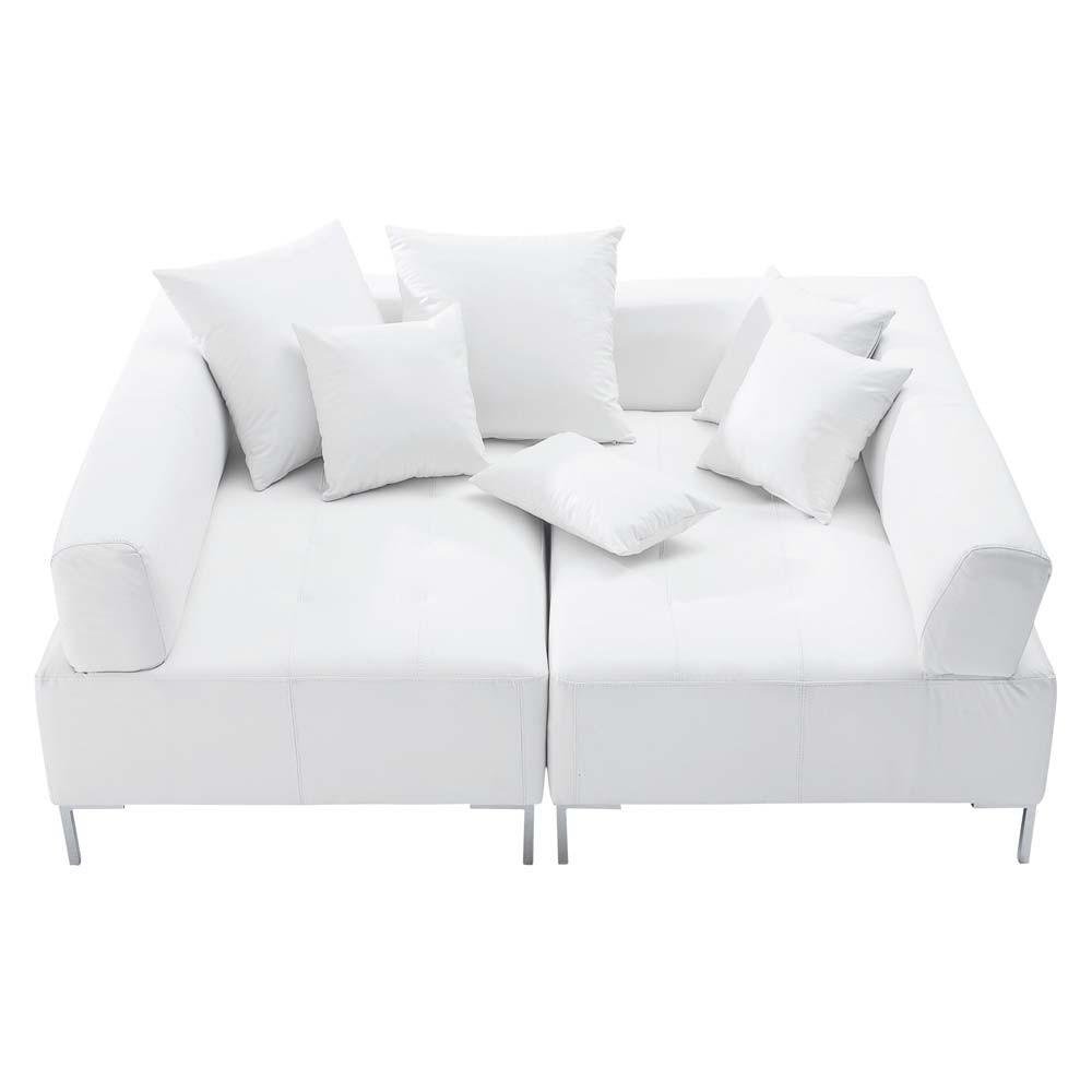Sof modulable de 4 plazas de polipiel blanco duo for Sofa 2 plazas polipiel