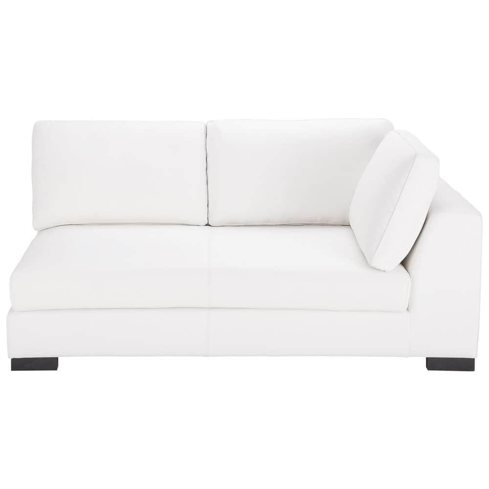 Sof modulable derecho de cuero blanco terence maisons - Sofa cuero blanco ...