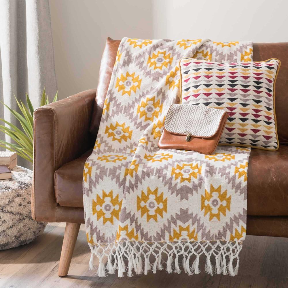 sofa berwurf mit gelben grauen motiven 125 x 150 cm gopsy maisons du monde. Black Bedroom Furniture Sets. Home Design Ideas