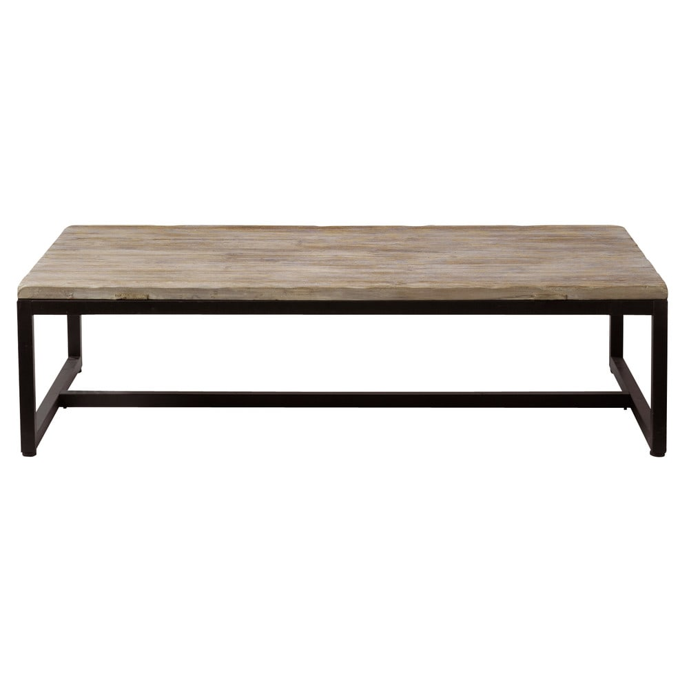 Solid fir and metal industrial coffee table long island for Maison du monde table