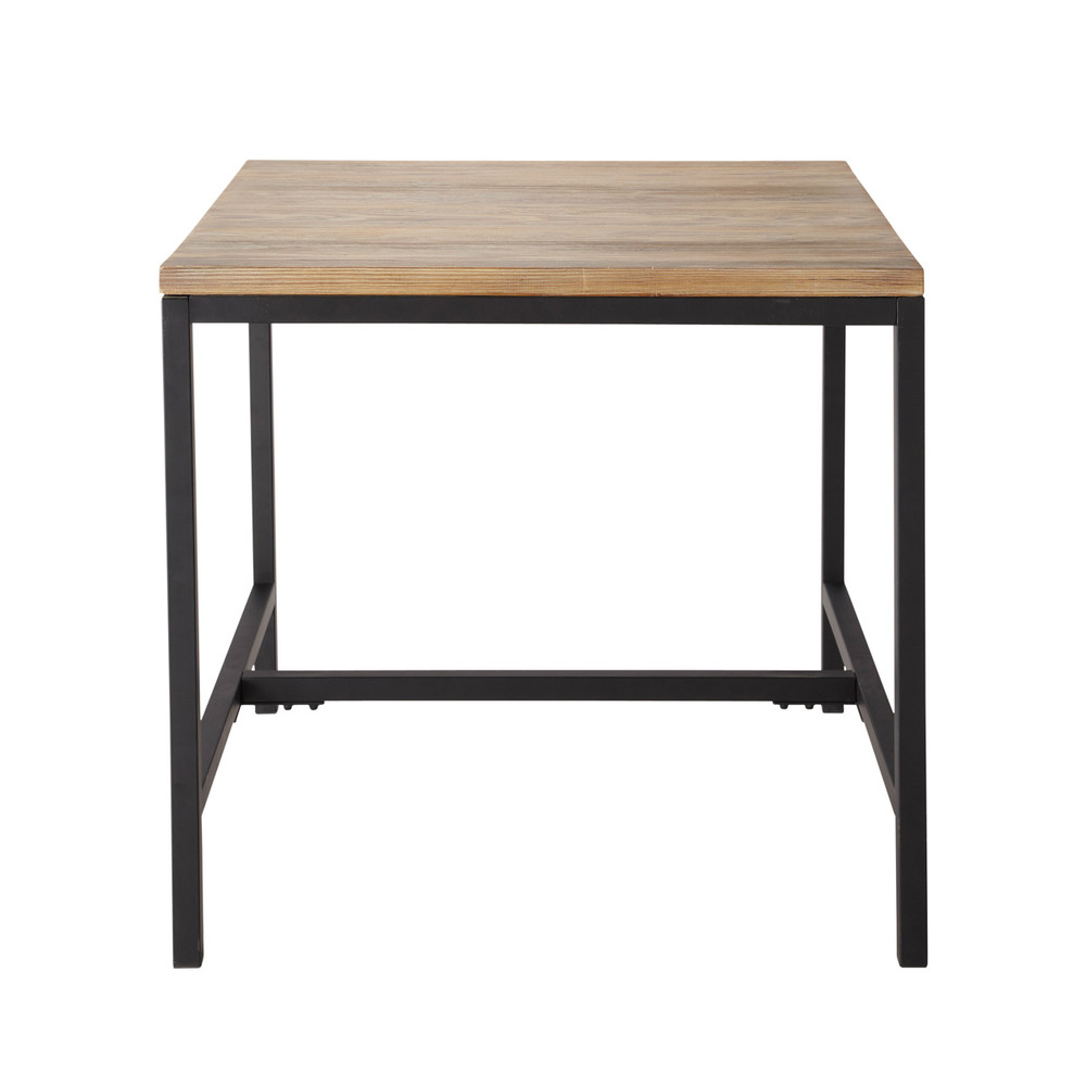 solid fir and metal industrial dining table long island maisons du monde. Black Bedroom Furniture Sets. Home Design Ideas