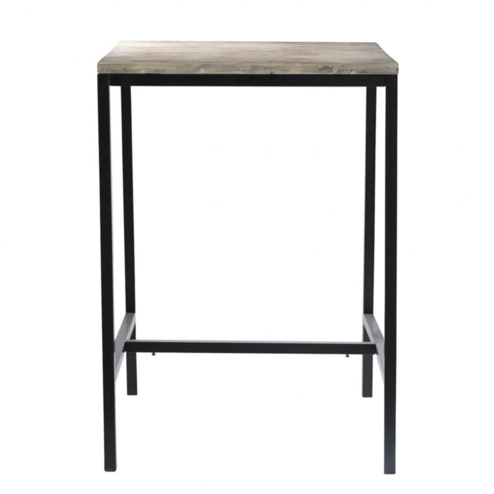 Solid Fir And Metal Industrial Tall Dining Table In