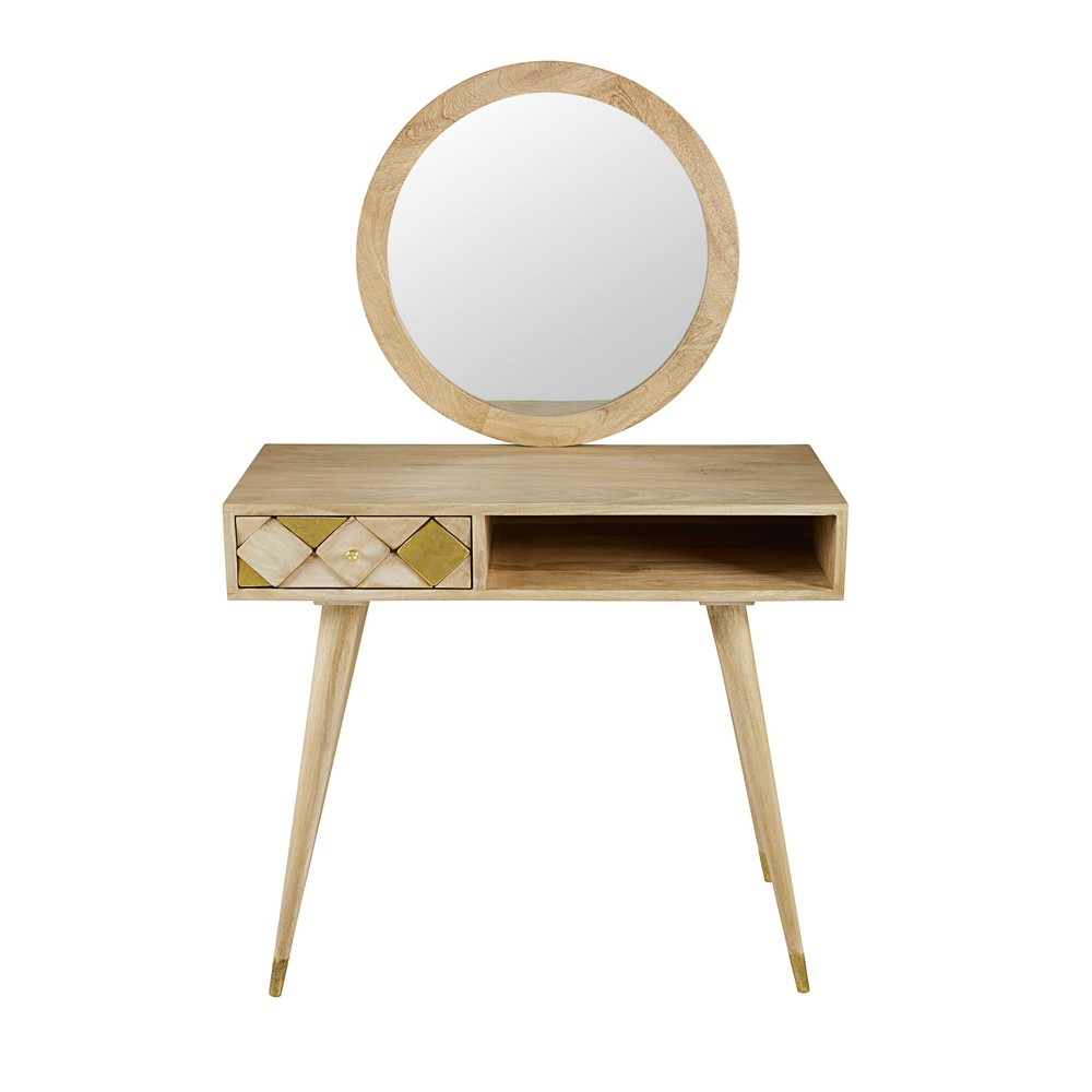 solid mango wood 1 drawer dressing table salome maisons du monde