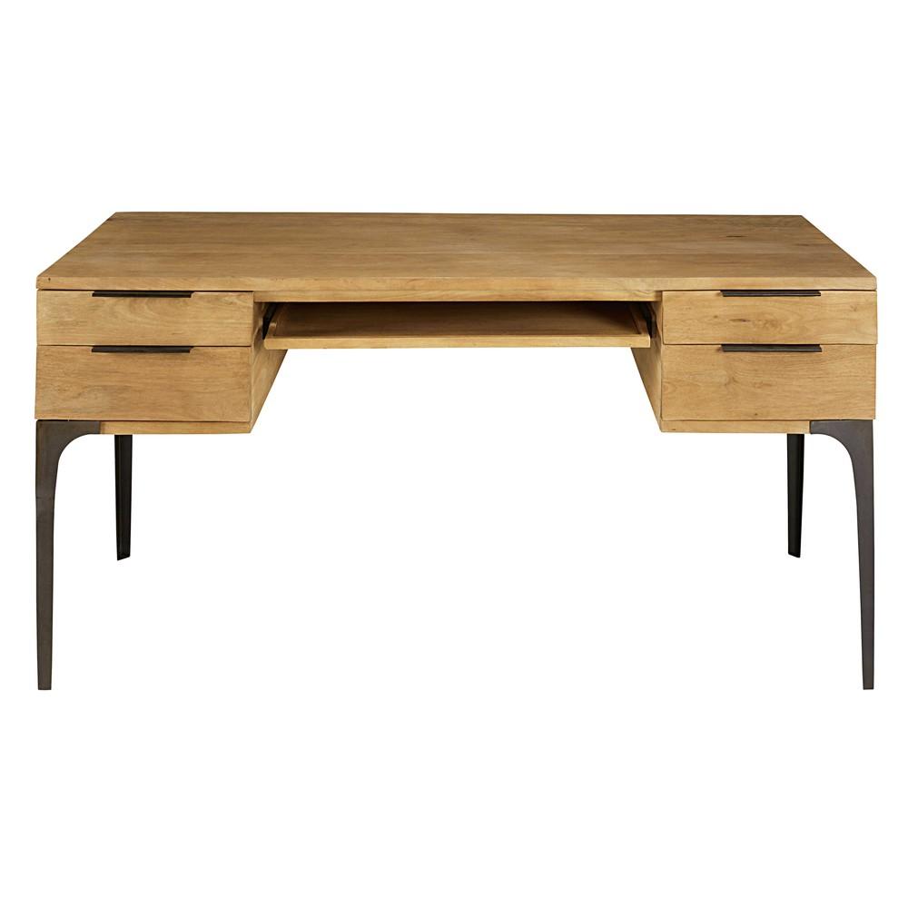 solid mango wood and acacia 4 drawer desk metropolis maisons du monde. Black Bedroom Furniture Sets. Home Design Ideas