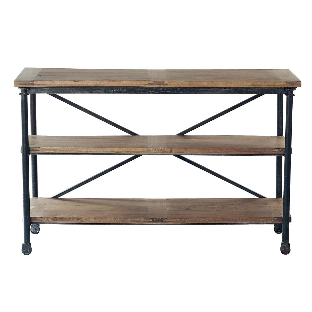 solid mango wood and metal console table on castors w 130cm archibald maisons du monde. Black Bedroom Furniture Sets. Home Design Ideas