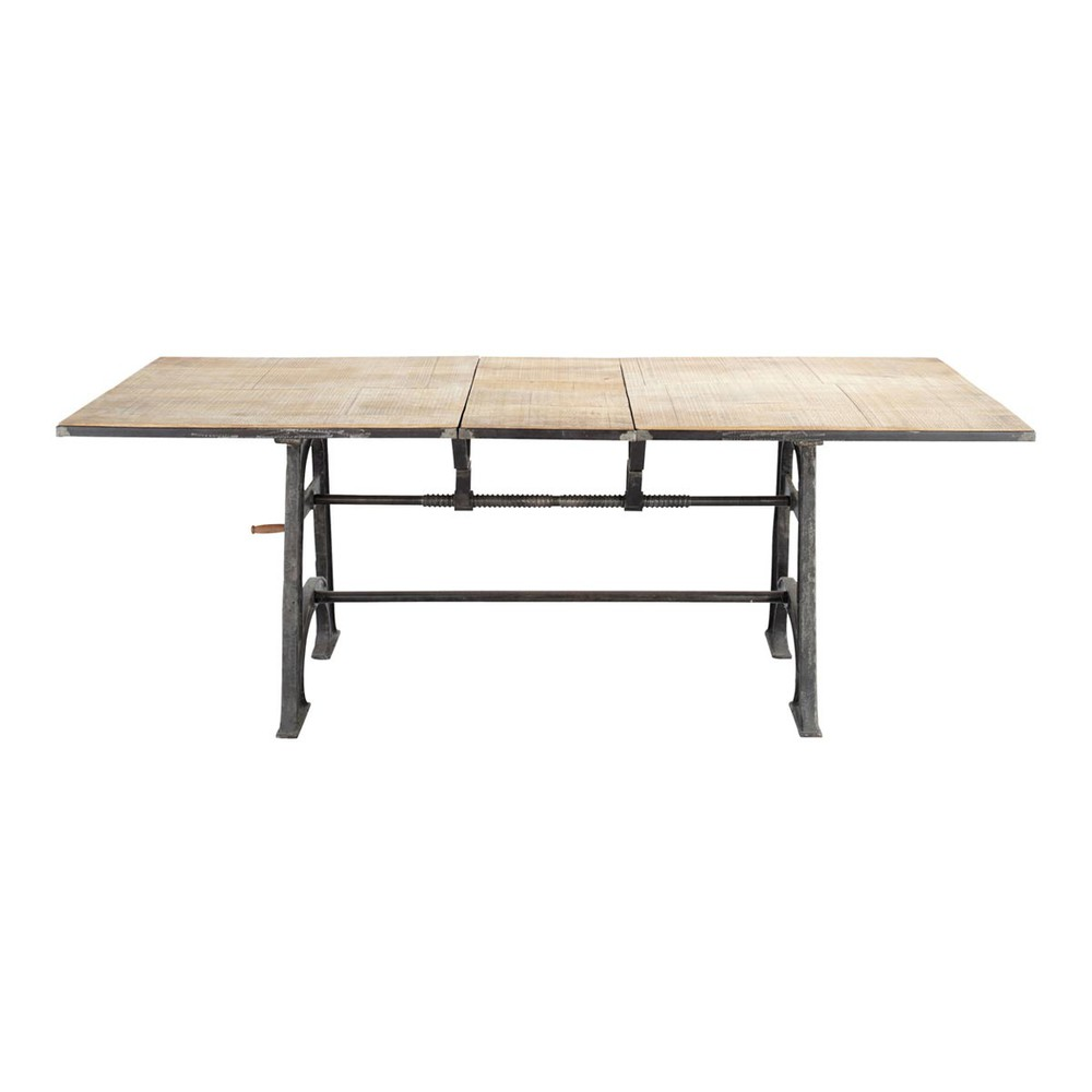 Solid mango wood and metal extending dining table w 180cm for Table 180 cm