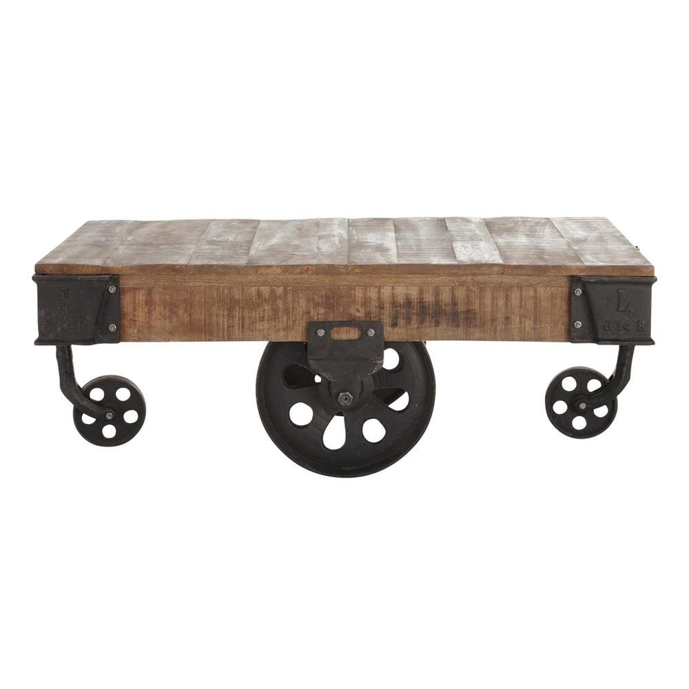 Solid mango wood and metal industrial coffee table on castors w solid mango wood and metal industrial coffee table on castors w 130cm geotapseo Gallery