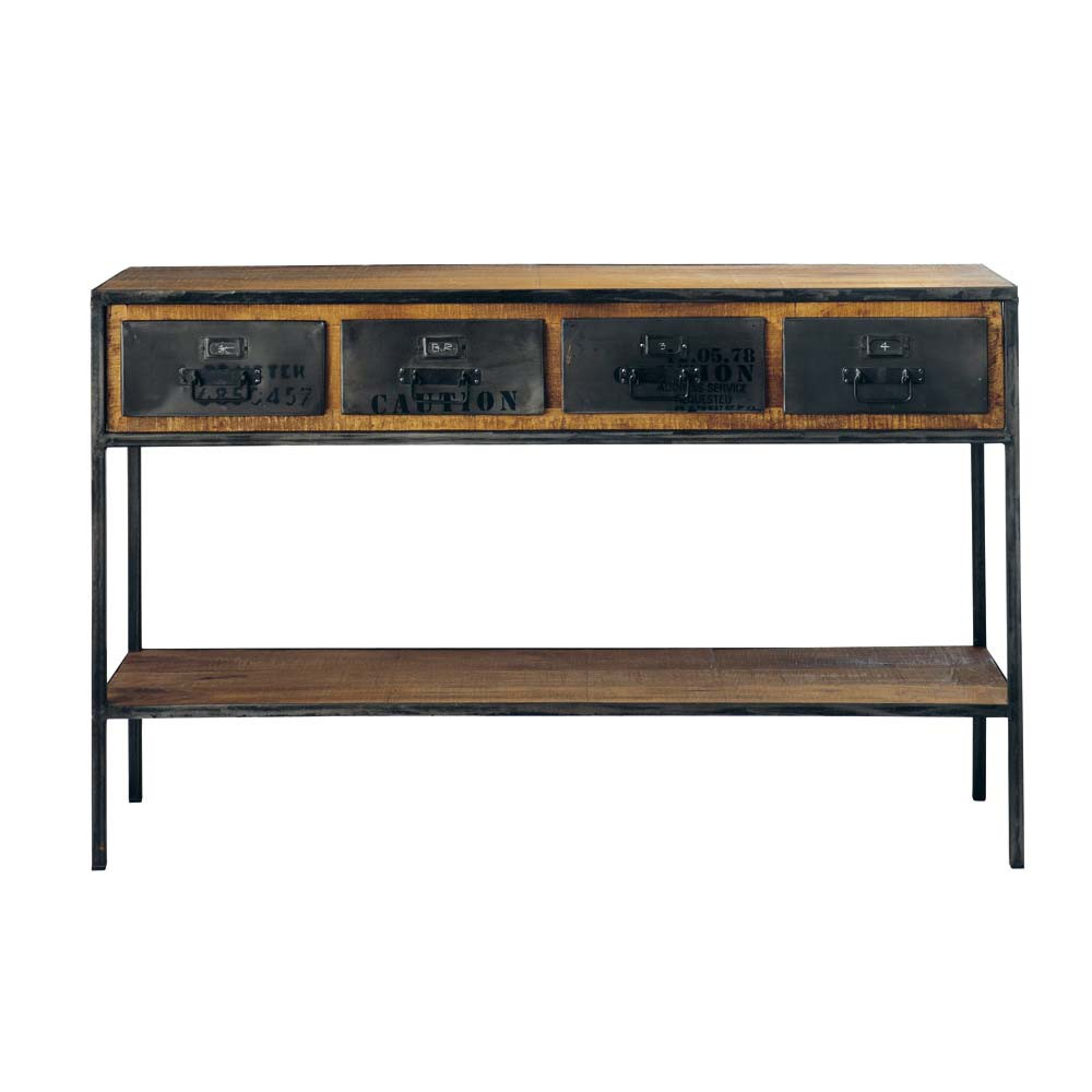 solid mango wood and metal industrial console table in black w 130cm manufacture maisons du monde. Black Bedroom Furniture Sets. Home Design Ideas