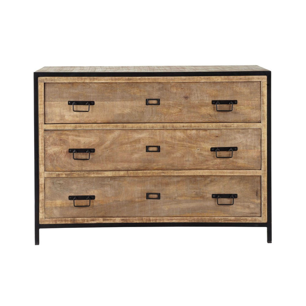 solid mango wood and metal industrial drawer chest w 110cm. Black Bedroom Furniture Sets. Home Design Ideas