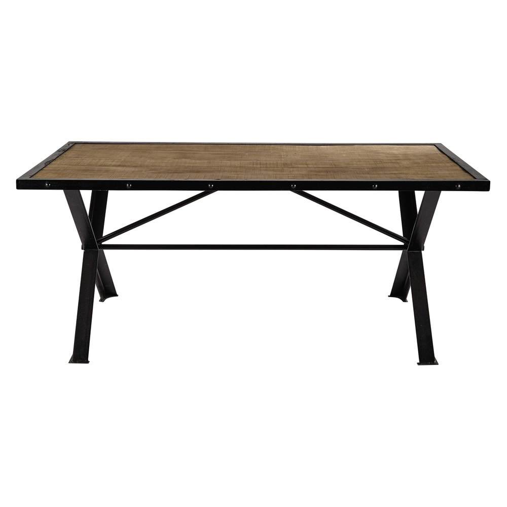 solid mango wood and riveted metal dining table l 180cm factory maisons du monde. Black Bedroom Furniture Sets. Home Design Ideas