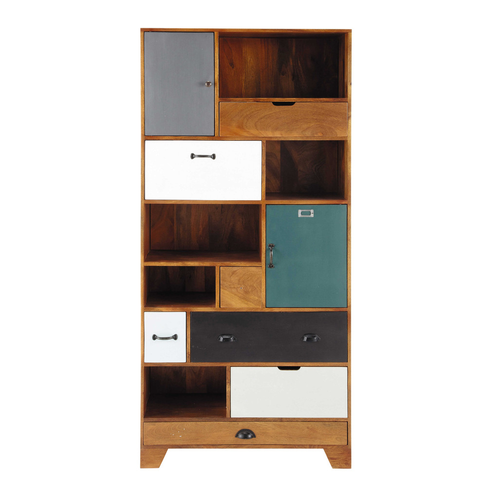 solid mango wood bookcase w 90cm picadilly maisons du monde. Black Bedroom Furniture Sets. Home Design Ideas