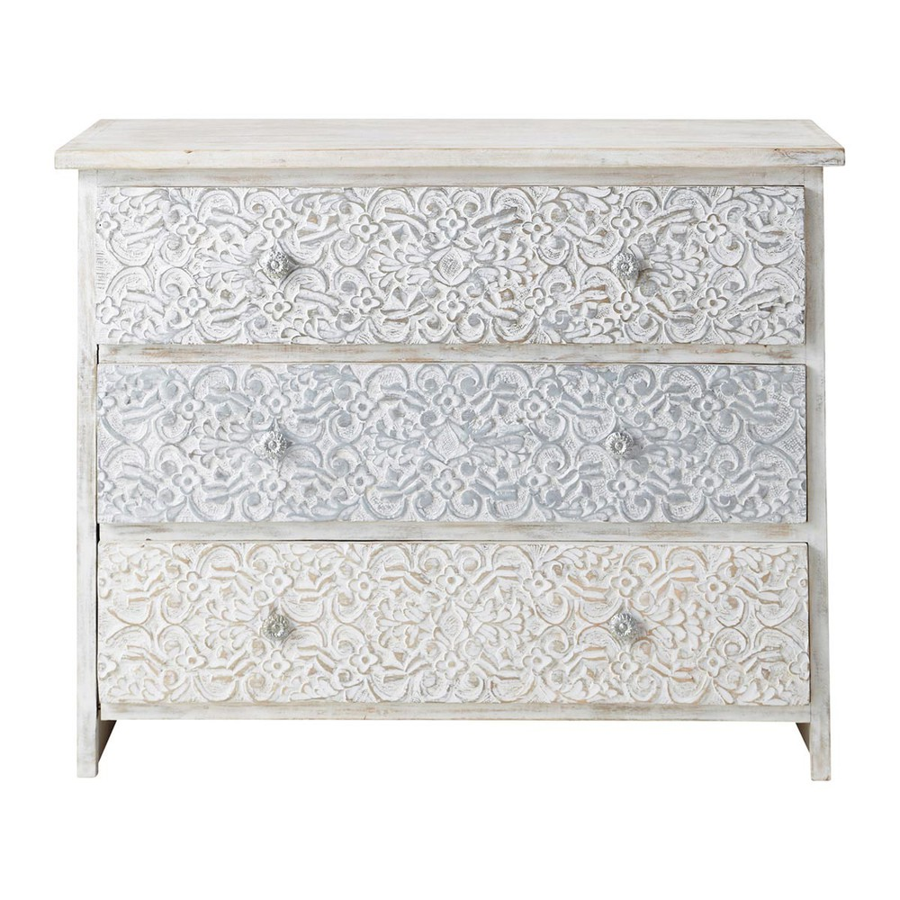 solid mango wood carved indian chest of drawers in white w 100cm carved solid mango wood