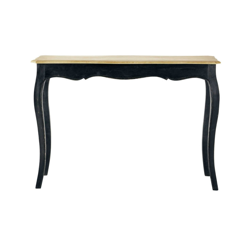 Solid mango wood console table in black w 116cm versailles for Table salle a manger wenge but