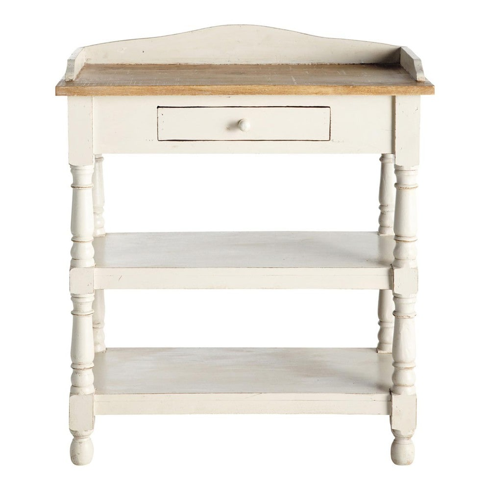 Solid mango wood console table in white w cm amelie