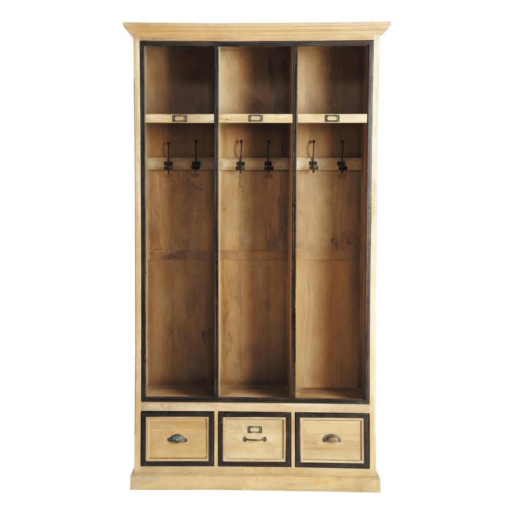 Solid mango wood hallway unit with 6 hooks w 120cm naturaliste maisons du monde - Meuble pour entree de maison ...