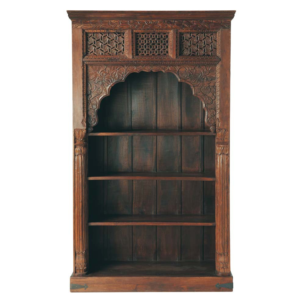 Solid Mango Wood Indian Bookcase W 127cm Rajasthan