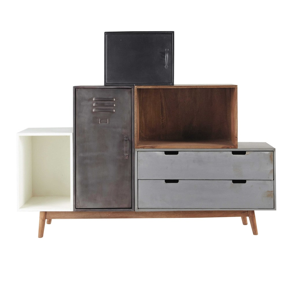 solid mango wood reconstructed sideboard lenox maisons du monde. Black Bedroom Furniture Sets. Home Design Ideas