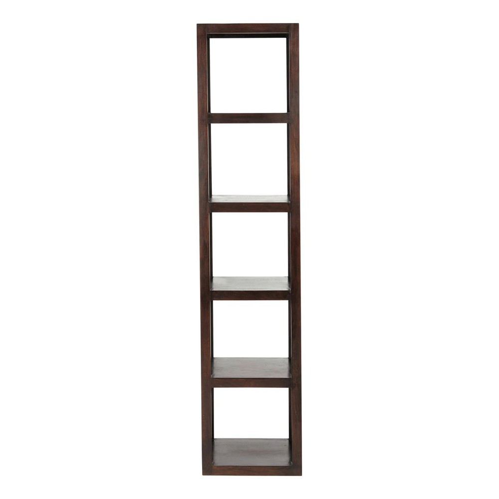 solid mango wood shelf tower unit in off white h 180cm
