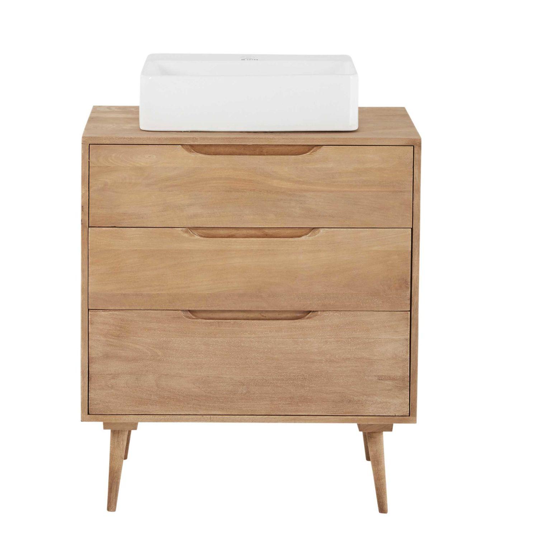 Solid Mango Wood Single Sink 3 Drawer Bathroom Vanity Trocadero Maisons Du Monde