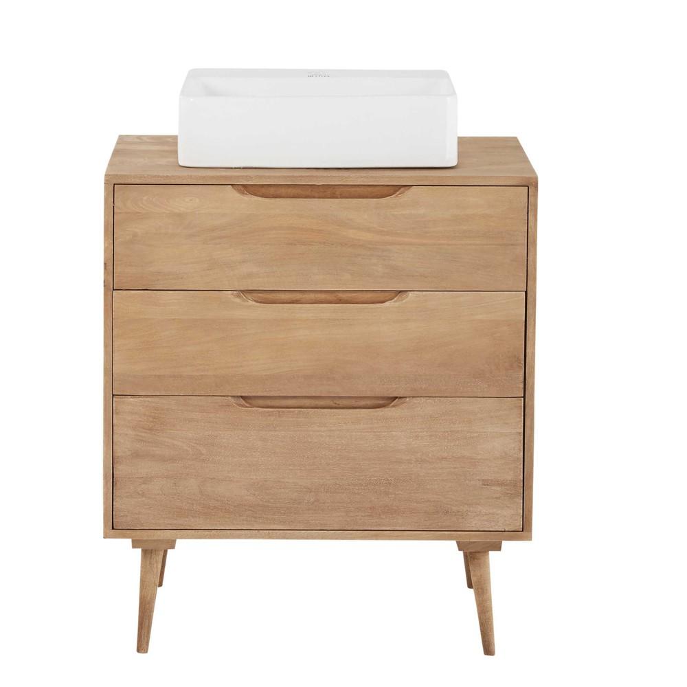 solid mango wood single sink 3 drawer bathroom vanity trocadero maisons du monde. Black Bedroom Furniture Sets. Home Design Ideas