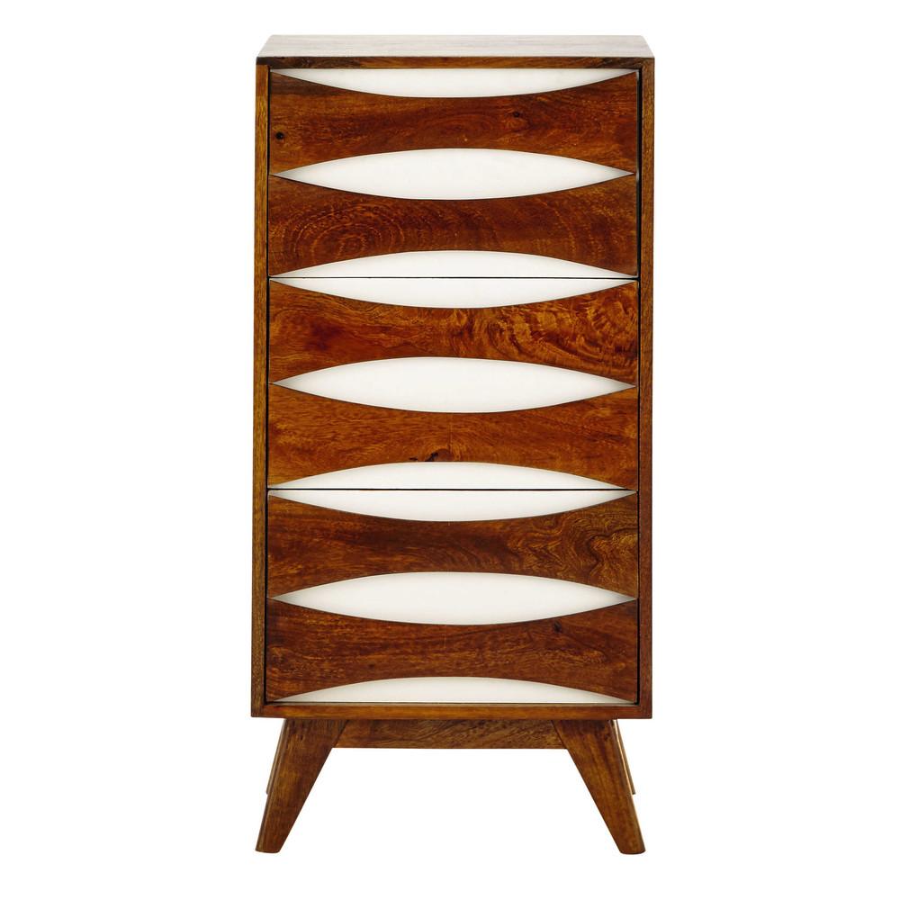 solid mango wood storage cabinet in white w 45cm moon maisons du monde. Black Bedroom Furniture Sets. Home Design Ideas