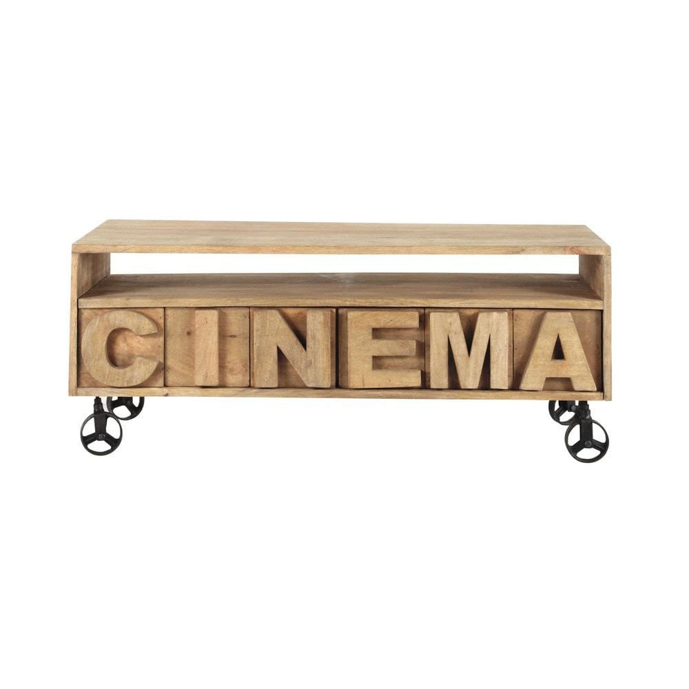 solid mango wood tv unit on castors w 120cm alphabet. Black Bedroom Furniture Sets. Home Design Ideas