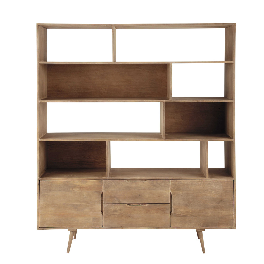 solid mango wood vintage bookcase in grey w 162cm trocadero maisons du monde. Black Bedroom Furniture Sets. Home Design Ideas